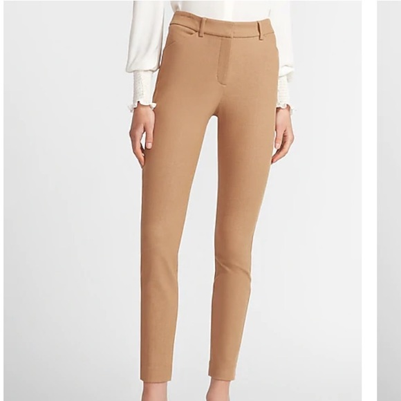 Express Camel High-waisted Textured Skinny Pant